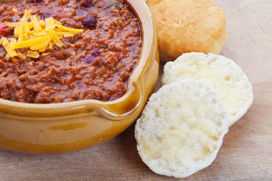 Chili Con Carne With Buttered Biscuits.