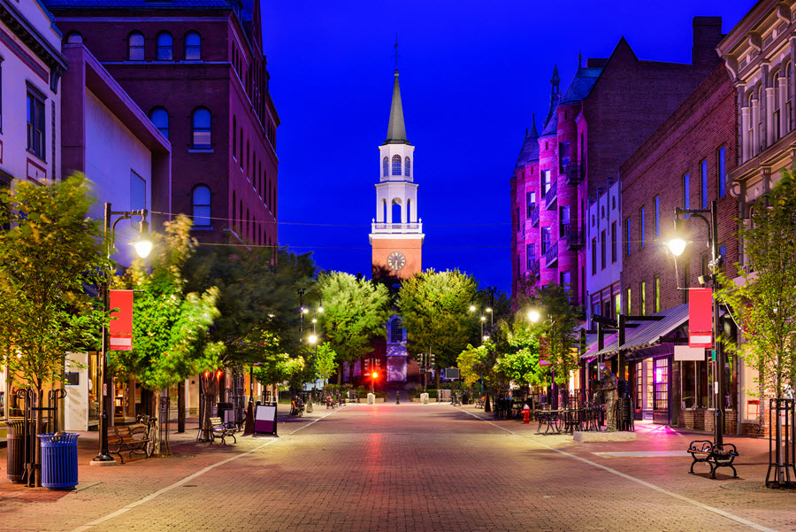 Church Street in Burlington, Vermont.