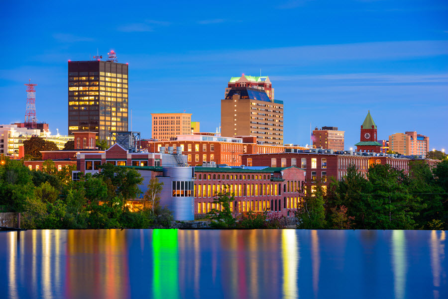 Manchester, New Hampshire Skyline.