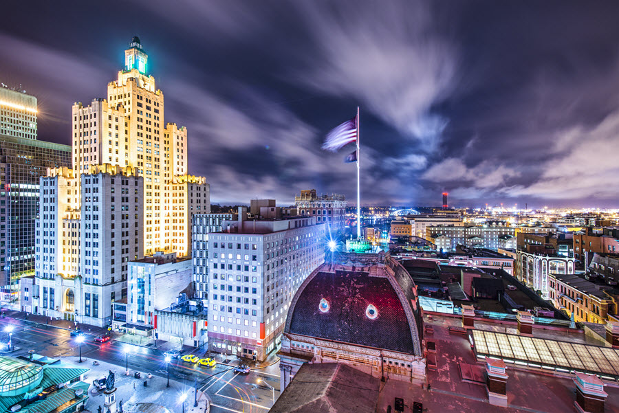 Providence at Night, from City Hall.