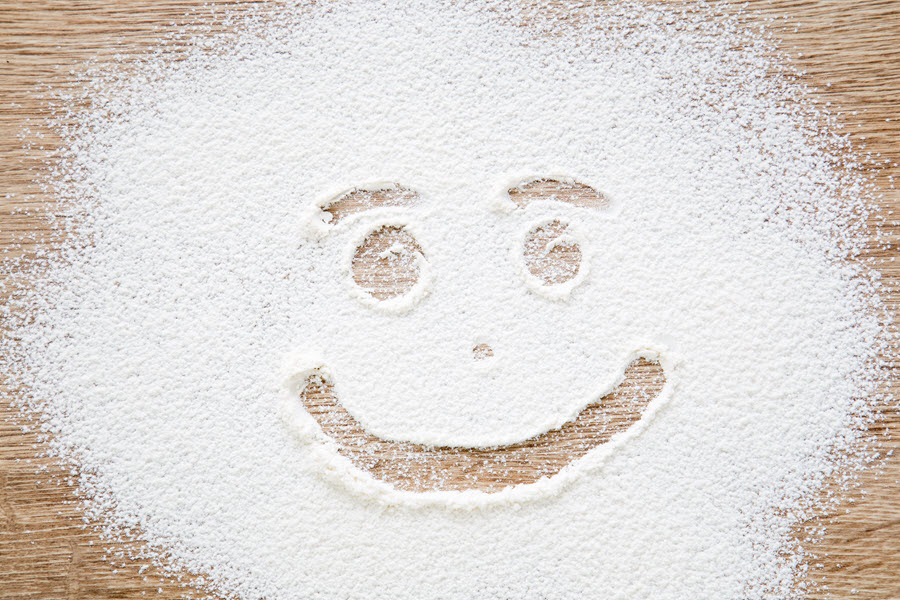 Smiley Face in Flour.