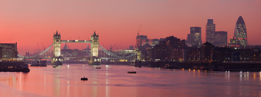 Tower Bridge & The City of London.